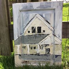 Every so often. Go to where you can hear a wood screen door slam shut. Painting on wooden cabinet door. $125 #staciekearnsart