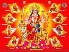 Nine days of Navratri. Sharad Navratri and Chaitra Navratri. Nine forms of Maa durga and legends associated with Navratri Shailputri,Brahmacharini,Kushmanda Durga Picture, Maa Durga Photo, Maa Durga Image, Durga Kali, Durga Puja, Durga Goddess, Shiva Shakti, Lord Durga, Saraswati Devi