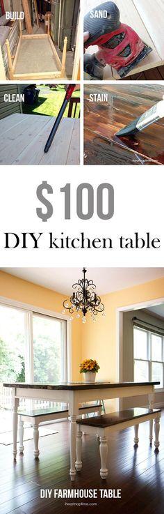 DIY farmhouse table on iheartnaptime.com for less than 100 bucks! LOVE it!