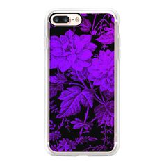 Purple flowers on black background - iPhone 7 Case, iPhone 7 Plus... ($40) ❤ liked on Polyvore featuring accessories, tech accessories, phone cases, iphone case, iphone cases, slim iphone case, iphone cover case, apple iphone case and purple iphone case