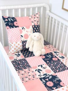 DOLLHOUSE MINIATURE NURSERY **BABY GIRL PINK SAMPLER QUILT COT COVER** CUTE GIFT