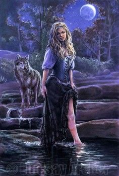 Sisters of the Moon - Woman and Wolf image - artist Lindsay Archer