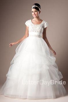 Modest Wedding Dress, Carabella | LatterDayBride & Prom. Modest Mormon LDS Temple Dress