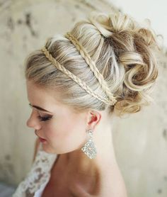 braided and curled wedding updo ~  we ❤ this! moncheribridals.com