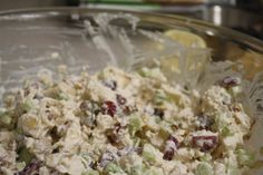 Ingredients:  2 Cups of shredded chicken  1 Cup of sliced grapes  1 Cup of sliced celery  3/4 Cup of almond slices (can buy in bags at the grocery store near the salad supplies)  1/4 Cup of sour cream  3/4 Cup of mayonnaise  1/2 of a lemon, squeezed  Salt and pepper to taste      Directions:  Mix all ingredients together in a large bowl and chill for about an hour before serving.   Serve with slices of avocado... yum!!