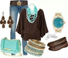 brown and teal