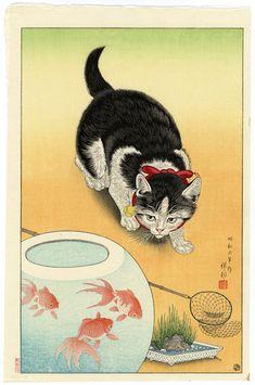 "Shoson Cat and Goldfish - Orange.---Ohara Koson (小原 古邨?, Kanazawa 1877 – Tokyo 1945) was a Japanese painter and printmaker of the late 19th and early 20th centuries, part of the shin-hanga (""new prints"") movement."