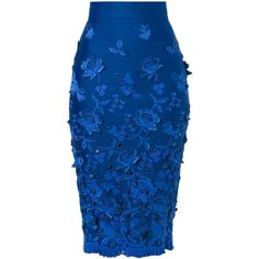 Ermanno Scervino Frayed Flower Appliqué Skirt (4.270 BRL) ❤ liked on Polyvore featuring skirts, bottoms, blue, flower skirt, blue skirt, ermanno scervino and applique skirt