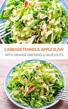 Delicious and healthy cabbage, fennel & apple slaw with orange dressing and toasted hazelnuts. This cabbage salad is Paleo, Gluten-Free, Vegan, Vegetarian, Whole30 friendly. #salad #salads #slaw #cabbage #fennel #apple #healthy #whole30 #paleo #vegan Green Vegetable Recipes, Vegetable Dishes, Green Bean Salads, Green Veggies, Easy Family Meals, Easy Meals, Family Recipes, Apple Slaw
