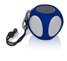 BiJELA Portable Outdoor Water Resistant Bluetooth Speaker with BuiltIn Mic  Retail Packaging  WhiteBlue * Learn more by visiting the image link-affiliate link.