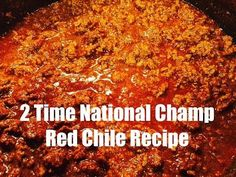 Red Beef Chili Recipe (Two Years National Champion Recipe) This red beef chili recipe (aka Sahara Chili) won the CASI Terilingua International Chili championship in 2005 & If you're looking to. Beef Chili Recipe, Chilli Recipes, Best Hot Dog Chili Recipe, Texas Chili Recipe No Beans, No Bean Chili, Paula Deen Chili Recipe, Simple Chili Recipe, One Pot Dinners, Chili Con Carne