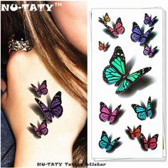 9ce72fe30 US $0.6 13% OFF|Nu TATY Amazing Butterfly 3d Temporary Tattoo Body Art  Flash Tattoo Stickers 19*9cm Waterproof Tatoo Home Decor Wall Sticker-in  Temporary ...