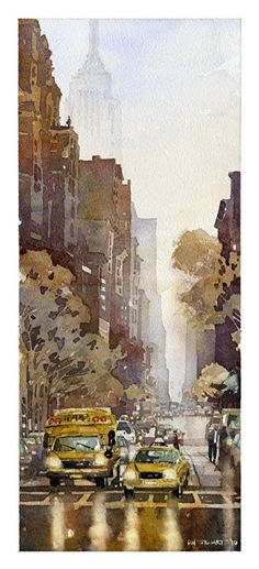 """5th Ave from Washington Square Park by Iain Stewart Watercolor ~ 17"""" x 7.5"""""""