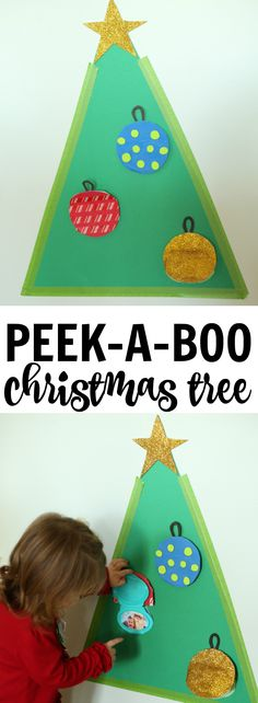 Peek-a-Boo Christmas Tree:  Such a fun toddler Christmas activity, perfect for introducing the faces of unfamiliar family members before the holiday!