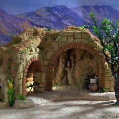 New Cueva para Fig. Christmas Village Sets, Christmas Nativity Scene, Christmas Villages, A Christmas Story, All Things Christmas, Christmas Holidays, Nativity Scenes, Christmas Crib Ideas, Christmas Paper Crafts
