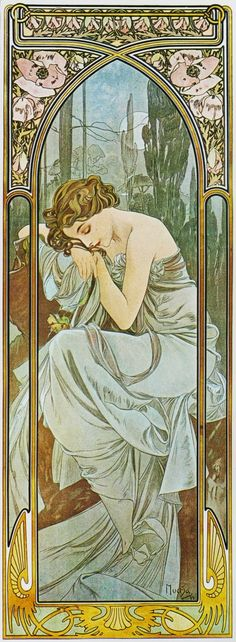 MUCHA (Alfons) Art Nouveau - Jugendstil: ~The Times of the Day: Night's Rest (1899)~