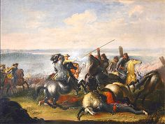Battle of Warsaw 1656, Charles X of Sweden in combat with Nogay Tatars. contemporary painting by Johann Phillip Lemke.