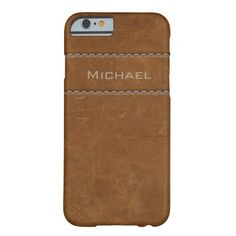 Weathered Leather Stitching Name Barely There iPhone 6 Case