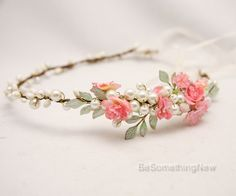 Rustic Wedding Flower Crown with Hand painted por BeSomethingNew