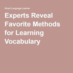 Experts Reveal Favorite Methods for Learning Vocabulary