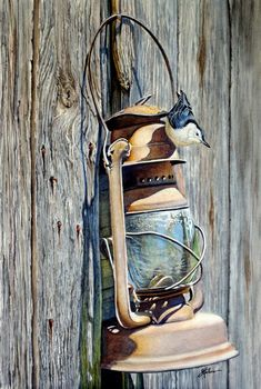 Greg Halom - Lantern and Nuthatch Watercolor Painting Old Lanterns, Art Watercolor, Bird Pictures, Wildlife Art, Bird Art, Bird Feathers, Beautiful Birds, Painting Inspiration, Pet Birds