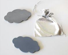 Chalkboard Magnet Cloud Black Gray or Lavender set by chalkology