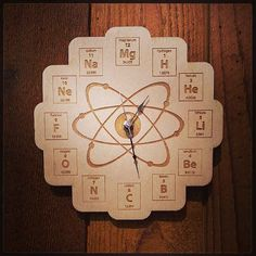 17 Gorgeous Wall Clocks For All Your Fandom Needs - AMC Breaking Bad wood periodic table wall clock