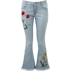 Stella Mccartney Jeans Botanical Kick Flare Jean ($417) ❤ liked on Polyvore featuring jeans, pants, stella mccartney, slim cut jeans, slim blue jeans, cropped flared jeans, floral print jeans and flared jeans