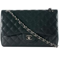 Chanel Classic 2.55 Quilted Caviar Leather Jumbo Double Flap Shoulder Bag