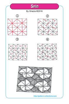Spin Tangle, Zentangle Pattern by Shazia Zentangle Drawings, Doodles Zentangles, Doodle Drawings, Easy Drawings, Tangle Doodle, Tangle Art, Zen Doodle, Doodle Patterns, Zentangle Patterns
