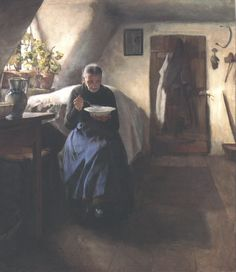 blastedheath:  Tivadar Zemplényi (Hungarian, 1864-1917), The Poor Woman's Home, 1895. Oil on canvas. Hungarian National Gallery, Budapest.