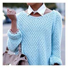 collar with sweater knit!  @mariaandamelia's Instagram photos   Webstagram - the best Instagram viewer