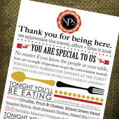Wedding menu/thank you