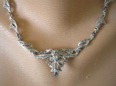 Great Gatsby Jewelry Marcasite Necklace Bridal by CrystalPearl Art Nouveau, 1950s Art, Marcasite Jewelry, Prom, Pretty Little, Jewelery, Wedding Inspiration, Pendants, Jewelries