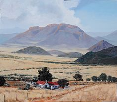 Middelburg Great Karoo by Rika De Klerk Oil ~ x South Afrika, Namibia, South African Artists, Out Of Africa, Places To Travel, Countries Of The World, Beautiful Places, Scenery, Around The Worlds