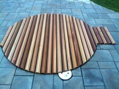 Great Northern® Roll-Up® Cover for a custom in-ground spa. The contrast between the wood and stone is gorgeous. In Ground Spa, Hot Tub Cover, Hot Tub Garden, Wood Patio, Western Red Cedar, Building A New Home, Outdoor Blanket, New Homes, Hot Tubs
