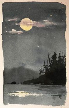 Original Watercolor Landscape - Moonlight Reflection - Japanese art - A watercolor sketch across the bay from our campsite one night in the BWCAW in northern MN. I loved - Painting & Drawing, Watercolor Paintings, Watercolor Trees, Watercolours, Simple Watercolor, Tattoo Watercolor, Watercolor Animals, Watercolor Techniques, Watercolor Background