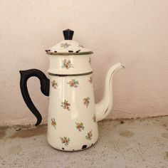 RARE Vintage French Enamelware flowers Enamel Coffee Pot