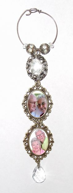 Double Wedding Bouquet Memorial Photo Charm antiqued Bronze Oval Metal Crystal Gems - FREE SHIPPING by StainedGlassAddie, $47.00