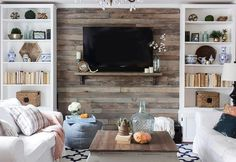 The pallet wood wall cladding is popular especially for installation in TV lounge or as media wall. The wooden rack beneath the TV screen is best to flaunt your decorative items. The cabinets and shelves of wood beside the pallet wood cladding can hold your crockery or books.