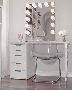 Vanity and glass chair