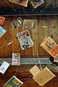 Early edition Henry Miller books hang from the ceiling. Christine Delsol / Special to SFGate