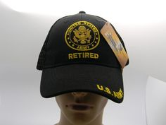 U S Army Retired Crest Cap Hat Black Embroidered Bill Adjustable New  Military