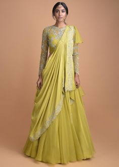 Buy Chartreuse Green Lehenga With A Pre Stitched Ruffle Dupatta And Embellished Crop Top Online - Kalki Fashion Indian Gowns Dresses, Indian Fashion Dresses, Dress Indian Style, Indian Designer Outfits, Indian Outfits, Designer Party Wear Dresses, Kurti Designs Party Wear, Lehenga Designs, Lehnga Dress