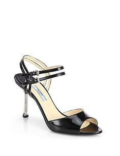 PRADA Patent Leather Double-Strap Sandals