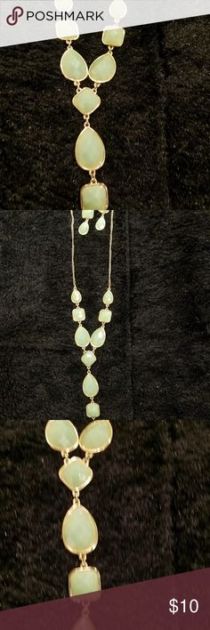 Necklace and earrings Soft, mint green jewelry set. jewelry Jewelry Necklaces