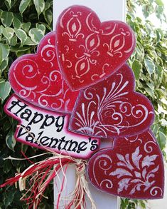 Want for deco. pots next to door - when nothing will grow in 'em! Happy Valentine's Yard Stick  Wood Valentine Sign  by Cherables, $33.95