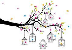 árbol con los pájaros y jaulas de pájaros, vector