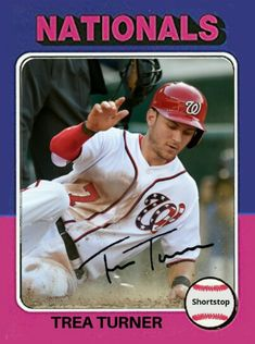 1975 Topps baseball design Trea Turner Baseball Uniforms, Baseball Players, Baseball Cards, Washington Nationals, Alternative, Sports, Design, Hs Sports, Sport