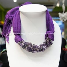 Purple scarf decorated with amethyst